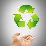 recycling logo with hand image